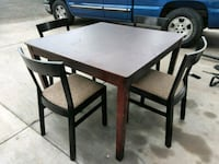 rectangular brown wooden table with four chairs dining set Phoenix, 85037