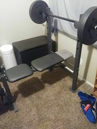 Bench press bench and 150 weights