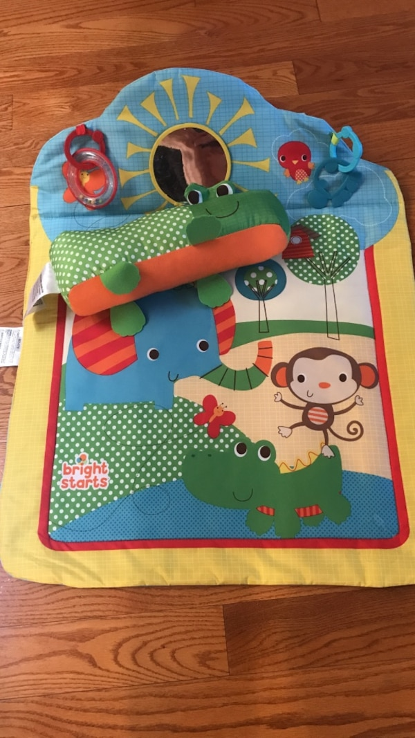 Baby's yellow and blue bright starts animal activity mat