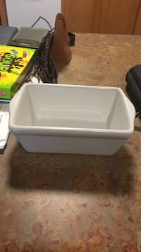 Small white microwave and oven safe dish