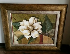 green and white petaled plant painting