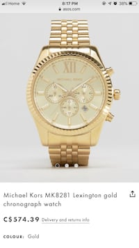 round gold-colored chronograph watch with link bracelet screenshot Brantford, N3S 5M8