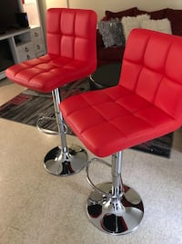 Red Bonded Leather Adjustable Hydraulic Bar Stools Boston, 02120