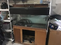 brown wooden framed glass fish tank 8 km