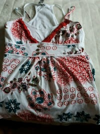 white, red, and green floral sleeveless dress Toronto, M6K 1X9