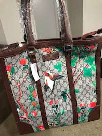 Green, white, and red floral tote bag null