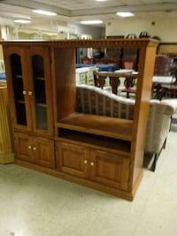 brown wooden TV hutch with flat screen television Norfolk, 23503