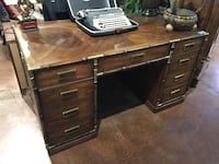 Vintage National Mt Airy Campaign Faux Bamboo Desk Gold River, 95670