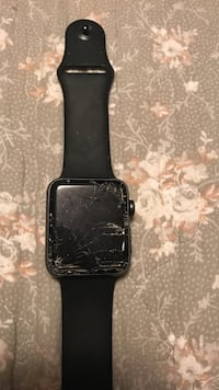 Space gray apple sportsband with black rubber strap didn't have it two months and drop it that's when screen shatter on me Bean Station, 37708
