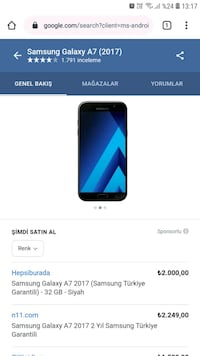 Samsung Galaxy A7 2017 Model  Cerrahpaşa, 34098