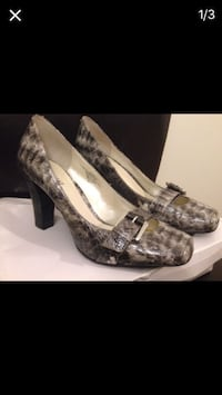 pair of women's gray-and-black chunky heels
