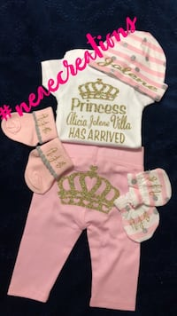 Baby's white and pink onesie princess has arrived Donna, 78537