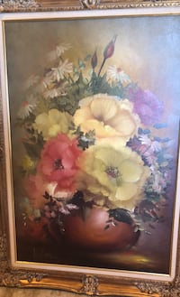 Framed original signed oil painting by Jenkins. Floral Bouquet Reston, 20191