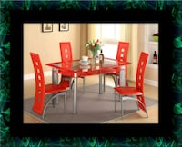 Glass red dining table with leather chairs Ashburn