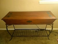 rectangular brown wooden table with black metal ba Oklahoma City, 73132