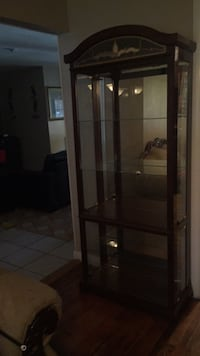 brown wooden framed glass display cabinet Dallas, 75211