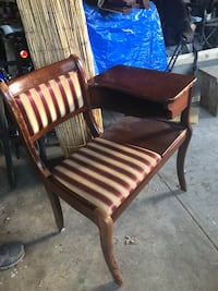 Brown wooden framed padded armchair. 1940's Telephone chair.