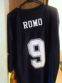 black and white Romo 9 jersey shirt