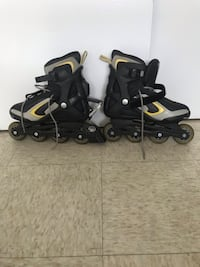 Pair of black-and-gray inline skates