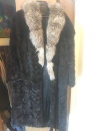 black and brown fur coat