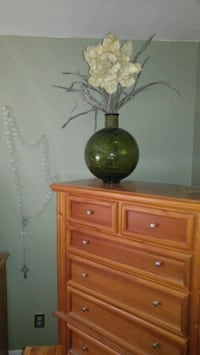 Large green glass vase with giant flower Tampa, 33603