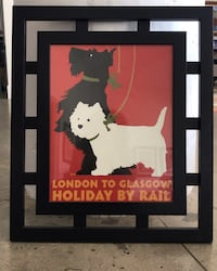 Wood frame Scotty dog print