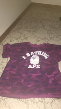 black, blue, and pink camouflage BAPE crew-neck t-shirt