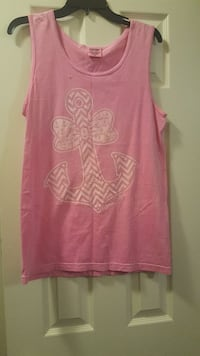 women's pink and white anchor printed tank top Mobile