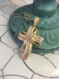 18k GP Over Sterling Silver Gorgeous Cross With Chain Necklace