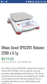 White ohaus scout digital balance scale used