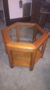 brown wooden framed glass top side table Lackawanna, 14218