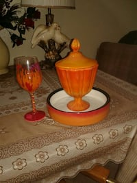 white and orange goblet and ceramic canister San Antonio, 78238