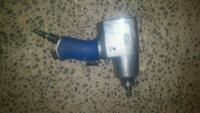 blue and gray corded power tool