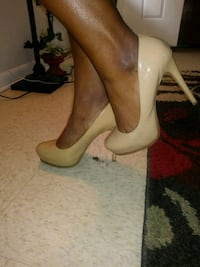 pair of white leather platform stilettos Laurinburg, 28352