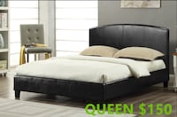 Brand new leatherette queen bed in black on sale  547 km