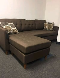 Brand New Brown Linen Sectional Sofa  Silver Spring
