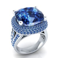 Top Quality PRINCESS BLUE RING For Women, Sz 6 Sparks, 89441
