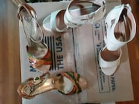 pair of white leather open toe ankle strap heels Hyattsville, 20784