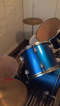 Blue and gray drum set