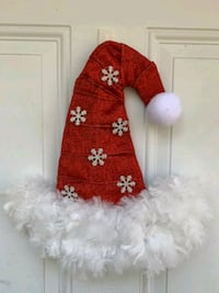 red and white Santa hat door hanger Williamsburg, 23185