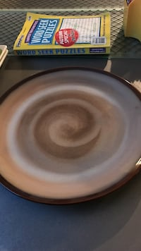 round brown ceramic plate