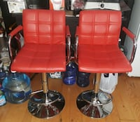 2 red leather counters height adjustable chairs  Columbia, 21045