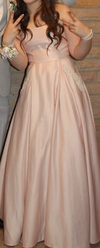 Prom Dress/ pink size 3-4-5-6 corset back can be removed zipper still intact   White Pigeon, 49099