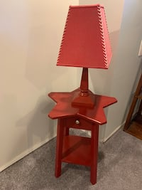 Pottery Barn Kid's red wooden night stand and lamp