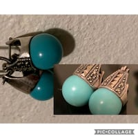 antique real teal stone earrings in a silver setti Edmonton, T5H