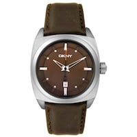DKNY Men's NY1410 Stainless Steel and Brown Leather Watch