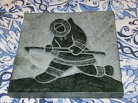 Inuit Art by David Bernett Original Green Marble Relief Sculpture BRAMPTON