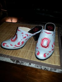 pair of white-and-red chunky clogs Columbus, 43211
