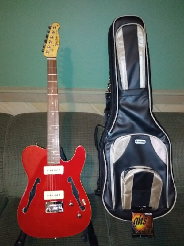 Harley Benton TE-90QM Trans Red Electric Guitar with soft case, with brand  new extra set of strings