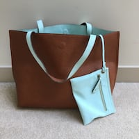 Reversible brown and teal tote from Nordstrom Vancouver, V5Y 3Z5